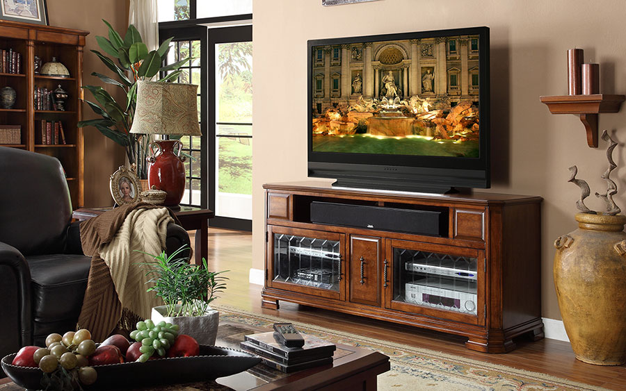 Legends home theater TV stand available at Mentor Furniture.