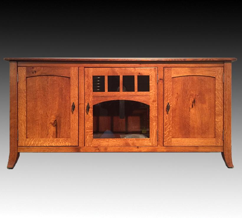 Mentor Furniture Qwp 62 Inch Rustic Quarter Sawn White Oak Amish Tv Console